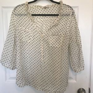 Old Navy Off White Polka Dot Top